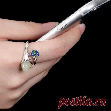 White Hetian Jade Ring-Magnolia Open Ring-Cloisonne Woman 925 | Etsy