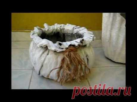 Kumaşla Beton Saks ı Yapm -2 & Kolay ve İlginç Yöntem - YouTube