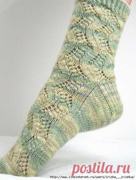 шедевральные ажурные носки спицами «Spring Forward»