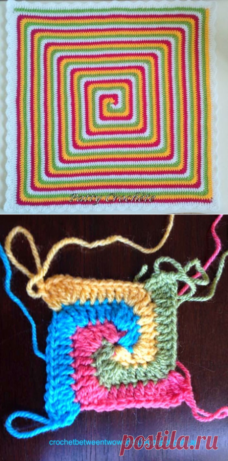 Вязание крючком между мирами: УЗОР: Сплошная спиральная площадь бабушки (в переводе от Пэтти Кроше)