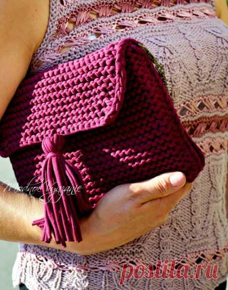 Клатч спицами трикотажными нитками. МК. / Модное вязание