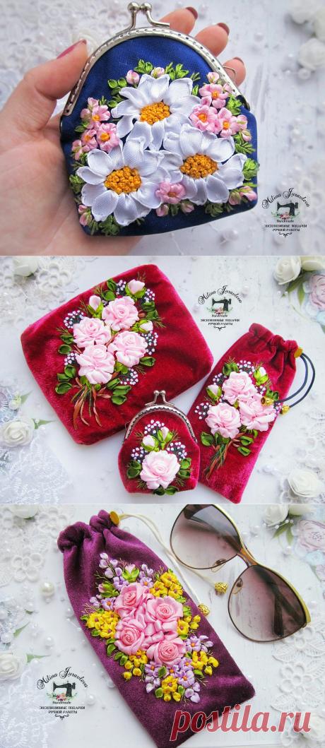 Идеи прекрасной вышивки лентами для женских аксессуаров — Сделай сам, идеи для творчества - DIY Ideas