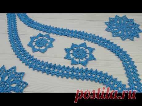 КАЙМА для ирландского кружева ВЯЗАНИЕ КРЮЧКОМ узкое ленточное кружево crochet irish lace