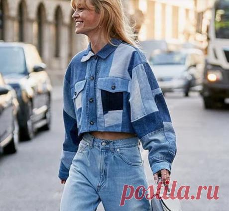 Блузка джинсовый пэчворк Модная одежда и дизайн интерьера своими руками