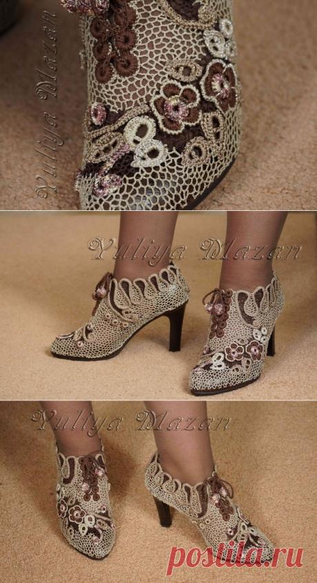 Необыкновенно красивые вязаные туфли