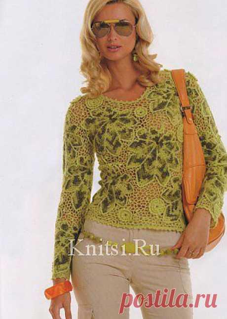 """Пуловер """"Листопад"""". Вязание для женщин / Пуловеры / Крючком"""