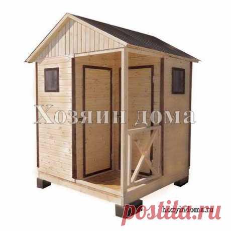 Дачный душ с туалетом. Простая конструкция с двухскатной крышей. Сборка и монтаж за 1 день