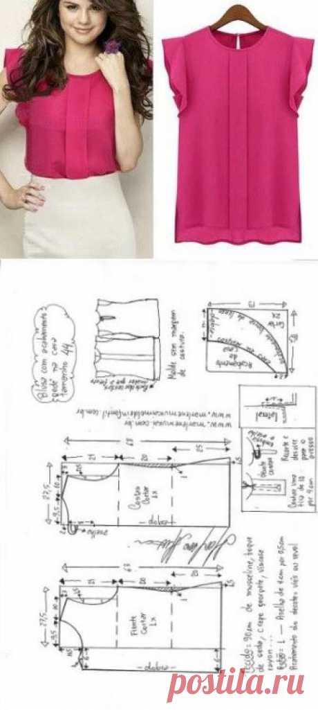 Новая подборка летних блузок + выкройки             Источник