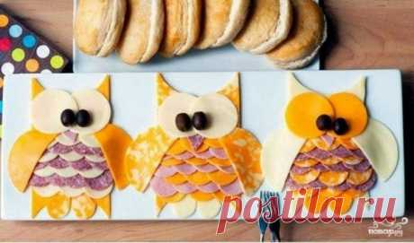 Яркие бутерброды в виде совы. Когда  хочется играть целый день! Мне нравится идея создания совы!
