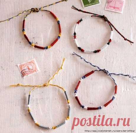Макраме, Плетеные браслеты, Браслеты с бусинами