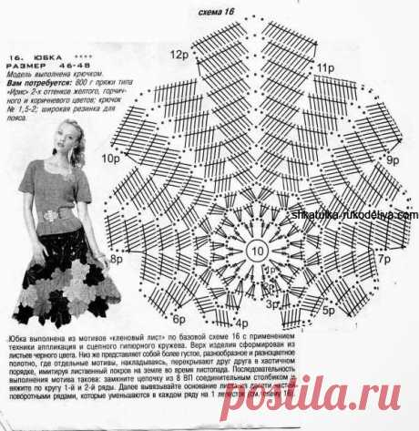 Красивая юбка из мотивов кленовый лист