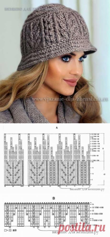 Женская шляпка спицами. / Вязание спицами / Вязание для женщин спицами. Схемы вязания спицами
