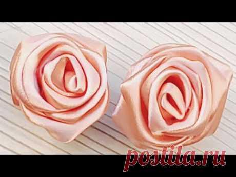 Реалистичная роза из атласной ленты своими руками. Видео мастер-класс - YouTube