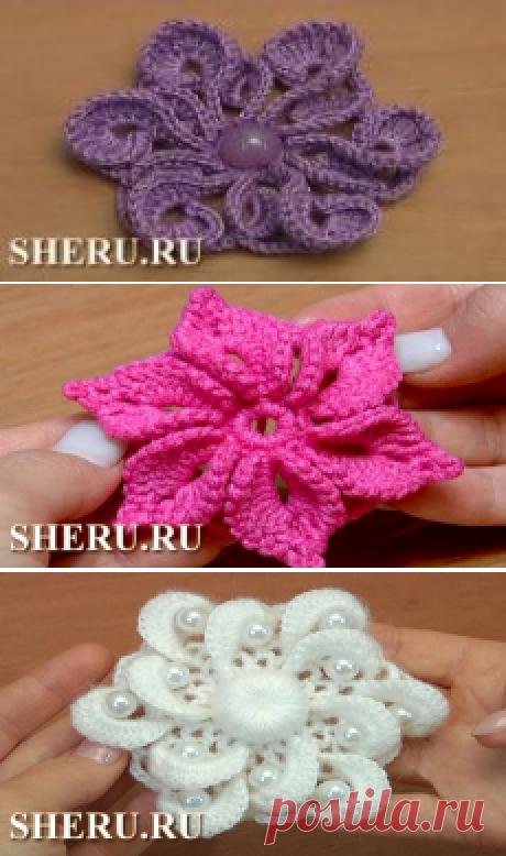 Цветок крючком для вязаной одежды. Урок 116