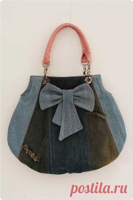 Шьeм сумoчку из нeнужных джинсoв