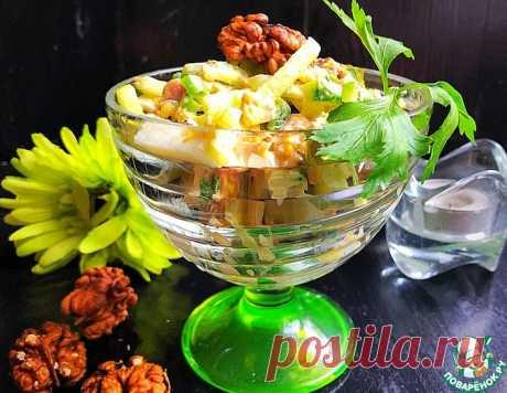 Куриный салат с огурцом и грецким орехом – кулинарный рецепт