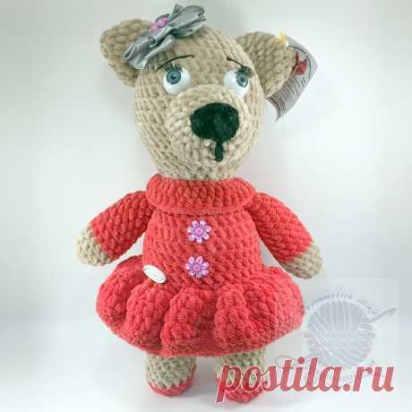 Плюшевая игрушка медведица в красном платье с бантом, 30 смПлюшевый мир Мастерская игрушек Анны Ганоцкой