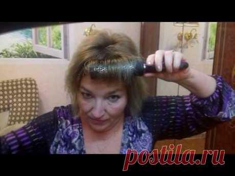Как сделать объёмную и пышную укладку волос ,самой дома . Легко !How to make a beautiful hairdo .