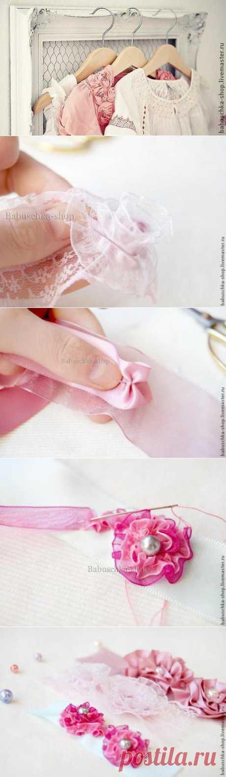 Создаем ленты с объемными цветами в стиле шебби-шик - Ярмарка Мастеров - ручная работа, handmade