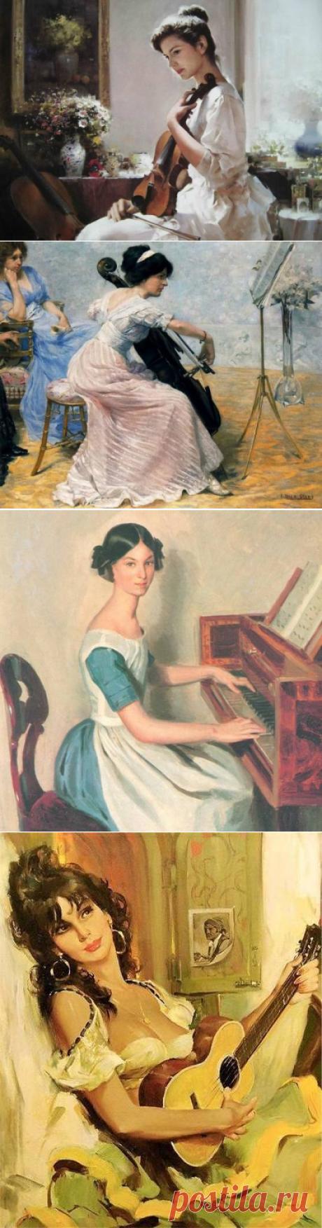 Музыкальные инструменты в живописи.