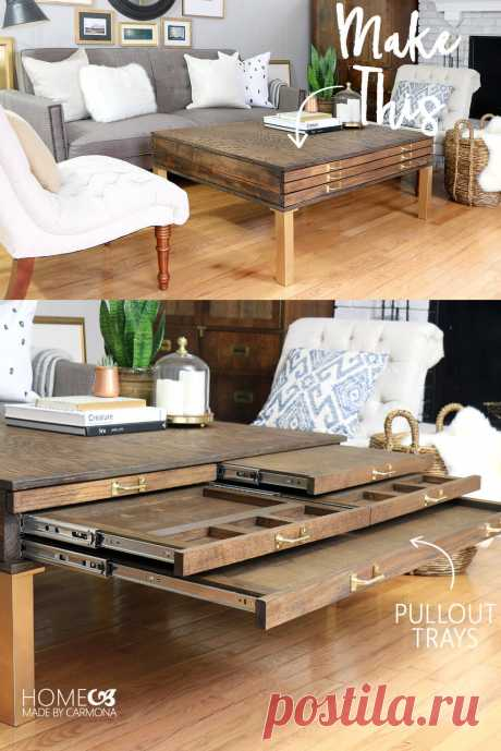 DIY Coffee Table With Pullouts - Home Made By Carmona