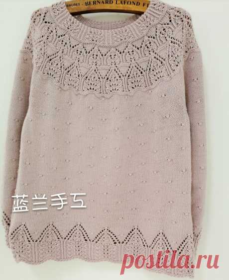 Азиатские модельки. Спицы: Пуловер на круглой кокетке