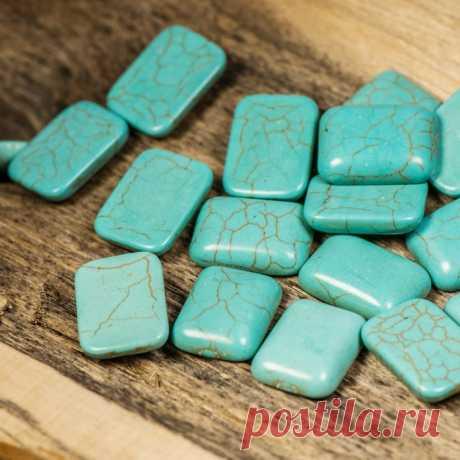 Кабошон бирюза синтетическая, прямоугольный, цвет античный голубой, 18x13x5 мм :: Crystal's - интернет-магазин бусин и фурнитуры