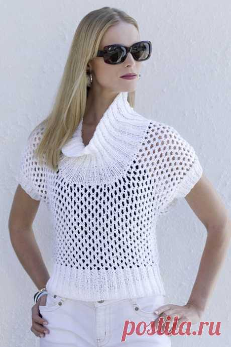 Пуловер-сеточка с короткими рукавами