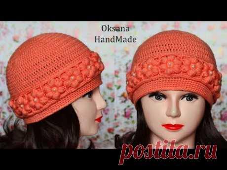 Женская шапка крючком. МК и схема. Women's crochet hat