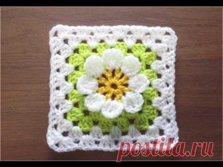 かぎ針編みの四角モチーフ 6 (3Dフラワー) How to Crochet Motif  / Crochet and Knitting Japan