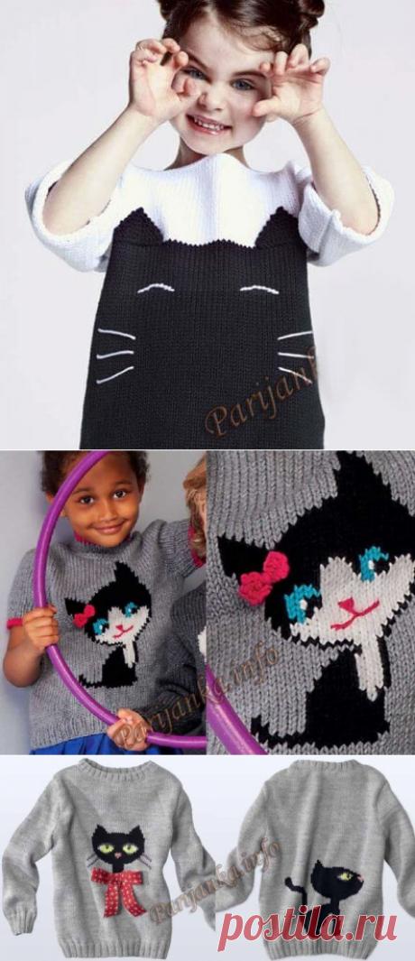 Детский свитер спицами с котами (для начинающих)