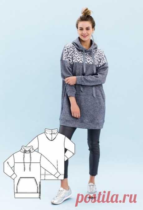Выкройка платья-толстовки для женщин р.34-54eur ------------------------------- Ставьте лайки и сохраняйте себе. Буду очень благодарна за комментарии.  #выкройки #платье #шитье #для_женщин #толстовка