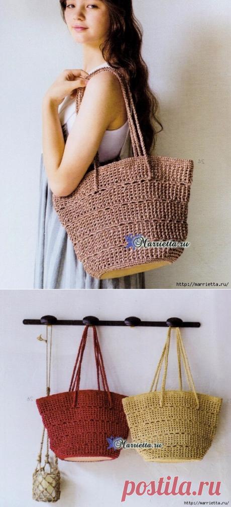 Вяжем крючком летнюю сумку с кожаным дном. Схема вязания