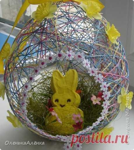 Шар из нитей в форме пасхального яйца | Страна Мастеров