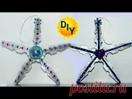 новогодняя игрушка, звезда из прищепок своими руками.