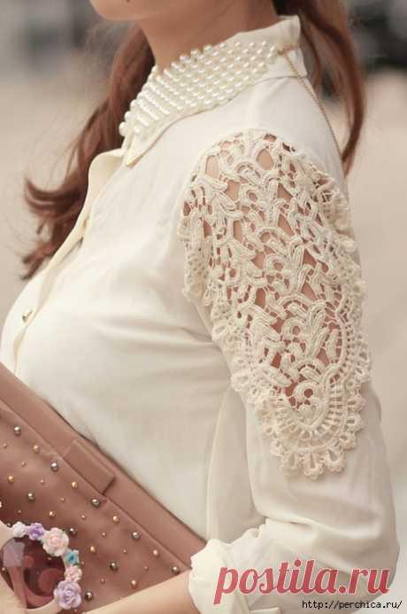 Идеи и схемы комбинированного вязания с тканью