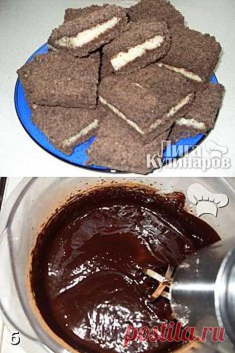 Шоколадное печенье с творожной начинкой — рецепт пошаговый от Лиги Кулинаров