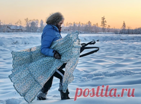 Галина Давыдова из Таттинского улуса сделала серию снимков с застывшей одеждой на морозе