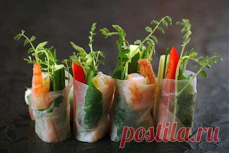 Спринг-роллы с овощами и креветками | Вкусные Рецепты