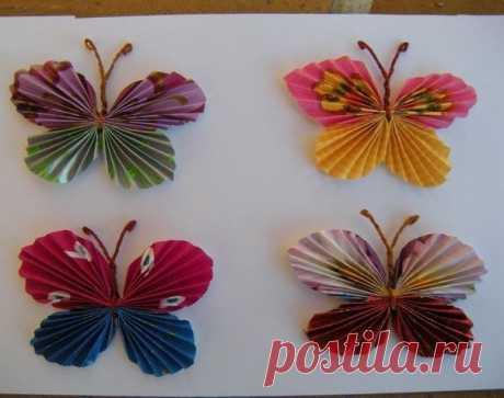 Бабочки из бумаги — Поделки с детьми