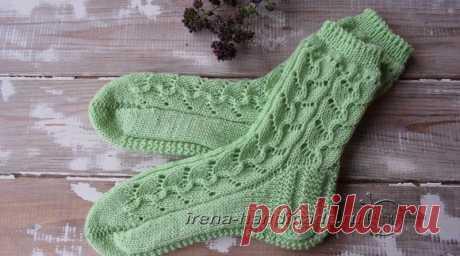 Ажурные носки с узором «Ручеек» (вязание, схемы и фото) - Irena Handmade