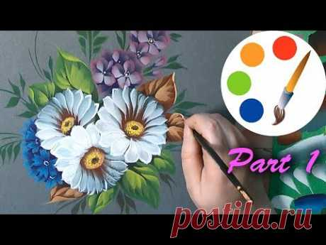 Painting daisies by flat brushes, paint wildflowers, tutorial, part 1