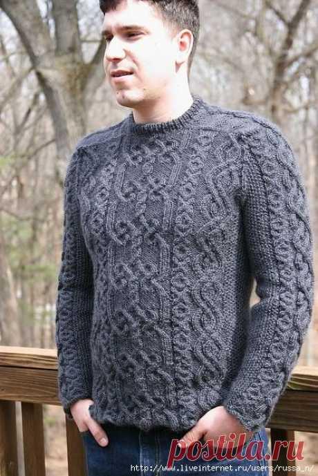 Пуловер-унисекс спицами