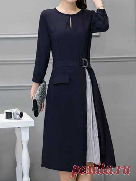 JustFashionNow Navy Blue Women Elegant Dress A-line Going out Dress 3/4 Sleeve Elegant Paneled Dress