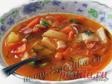 Суп фасолевый томатный в скороварке - рецепт с фото Томатный фасолевый суп приготовлен в «советской» скороварке, но рецепт легко приспосабливается к современной мультиварке-скороварке.
