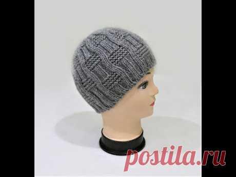 Мастер класс. Мужская шапка спицами с круглой макушкой. Men's knitted hat. Master Class.