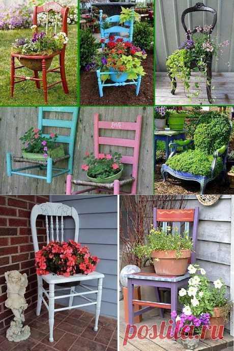 Ideas of application of old stools at your dacha