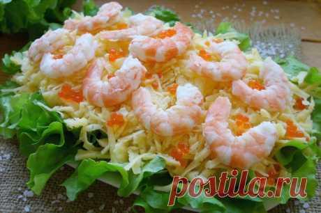 Салат с креветками и ананасом Комплимент