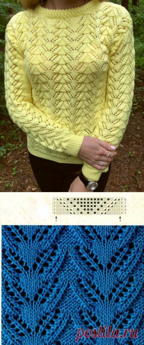 Ажурный желтый свитер от Ольги Волковой