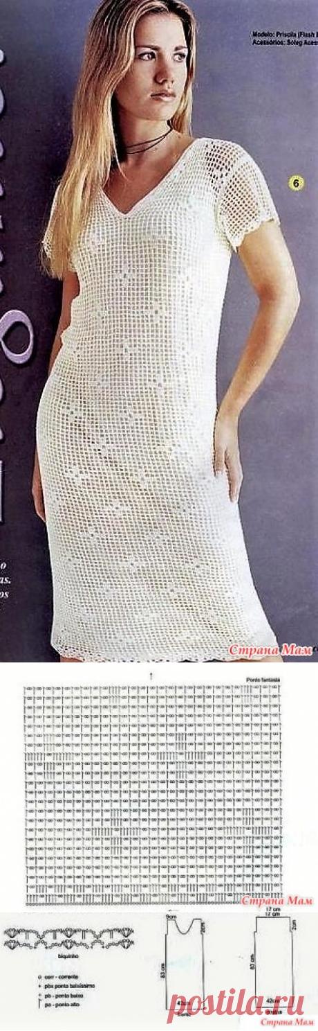 . Белое платье в технике филе. - Все в ажуре... (вязание крючком) - Страна Мам